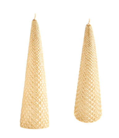 cone shaped: Cone shaped golden candle isolated over the white background, set of two foreshortenings