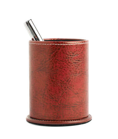 marker pen: Red leather pen holder cylinder box isolated over the white background