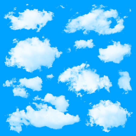 solid blue background: Set of multiple clouds and cloud formations isolated against the blue solid color background