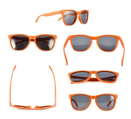 vasos: Gafas de sol Orange aisladas sobre el fondo blanco, conjunto de seis diferentes escorzos