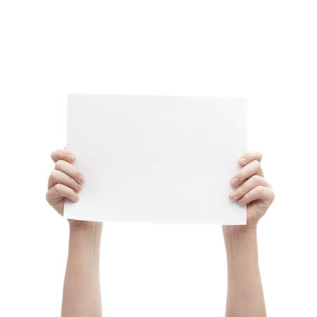 Two hands holding empty copyspace A4 sheet of white paper, composition isolated over the white background