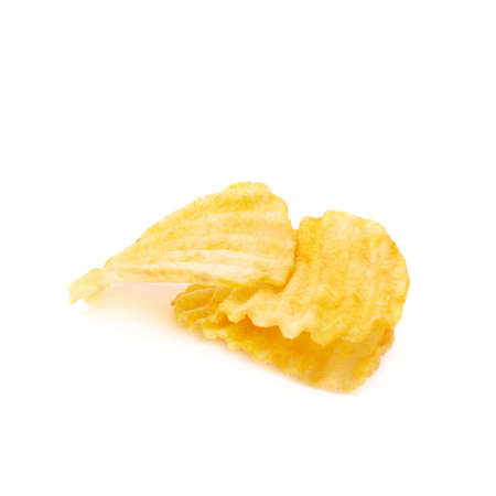ribbed: Composition of three yellow ribbed potatoe chips isolated over the white background