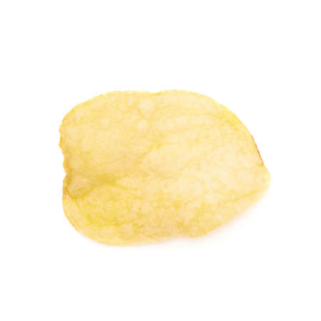 titbits: Yellow potato chips isolated over the white background