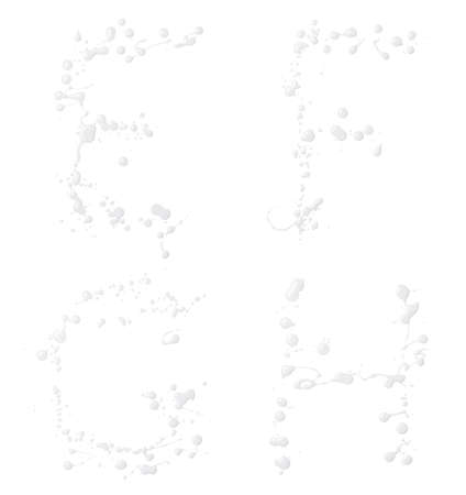g spot: E, F, G, H letter set made with the drops and spills of the oil paint, isolated over the white background