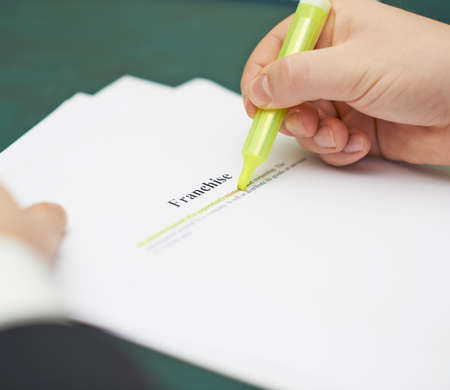 Marking words in a franchise definition, shallow depth of field composition