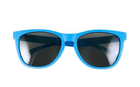 흰색 배경 위에 절연 푸른 태양 안경