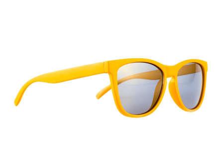 yellow shine: Yellow sun glasses isolated over the white background