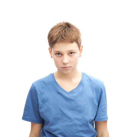 흰색 배경 위에 절연 피곤 된 젊은 소년 초상화 스톡 콘텐츠
