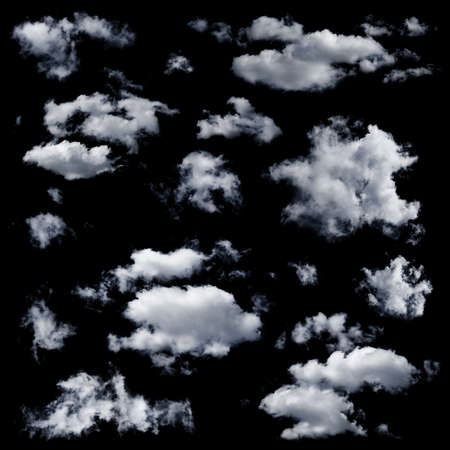cloud formations: Set of multiple clouds and cloud formations isolated against the black background