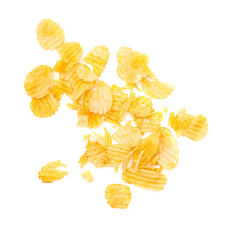 leftovers: Potato chips crumbs and leftovers isolated over the white background
