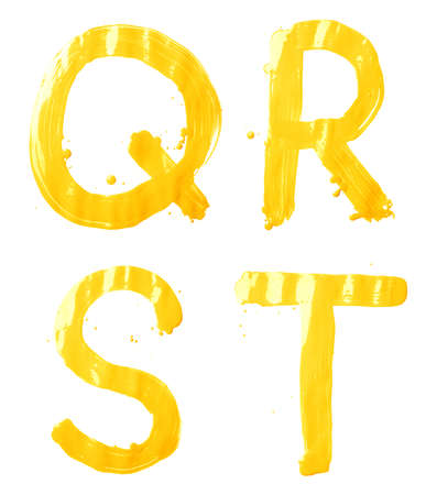 r: Q, R, S, T letter character set of a hand drawn with the oil paint brush strokes, isolated over the white background