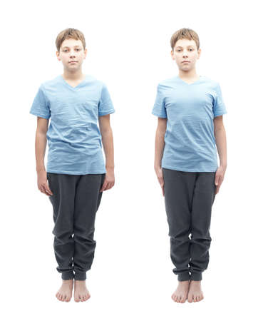 full shot: Full shot portrait of a caucasian 12 years old children boy in a blue t-shirt, set of two images, relaxed and focused Stock Photo