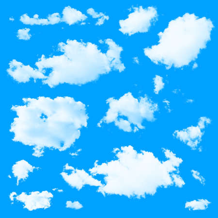 solid color: Set of multiple clouds and cloud formations isolated against the blue solid color background
