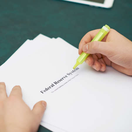 federal reserve: Marking words in a federal reserve system definition, shallow depth of field composition Stock Photo