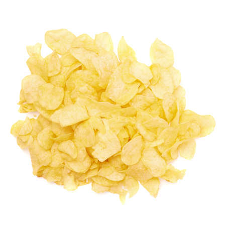 fatty food: Pile of multiple wavy yellow potato chips snacks isolated over the white background, top view above foreshortening Stock Photo