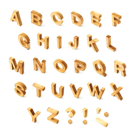 wooden block letter: Capital wooden block letter ABC alphabet set including multiple punctuation symbols isolated over the white  Stock Photo