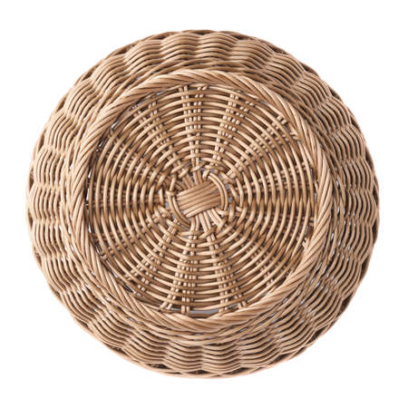 Empty fruit wicker brown basket bowl isolated over the white , top view above foreshortening