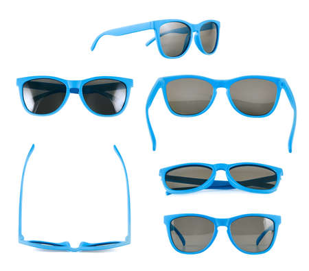 sun protection: Blue sun glasses isolated over the white , set of six different foreshortenings Stock Photo