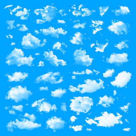 solid color: Set of multiple clouds and cloud formations isolated against the blue solid color
