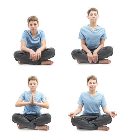 blonde boy: Young boy doing yoga in a lotus position, set of four stages from tired beginner to focused professional, full shot isolated over the white background Stock Photo