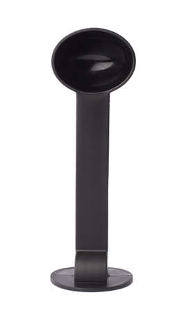 tamper: Black plastic espresso coffee tamper isolated over the white