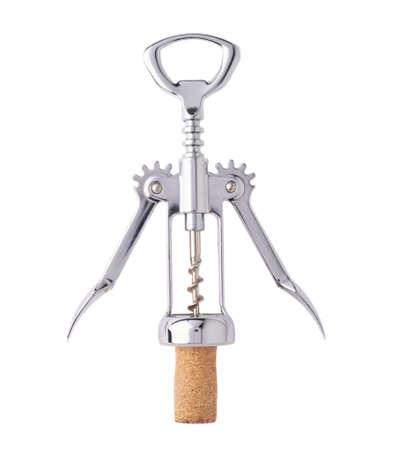 Glossy Metall Korkenzieher in den Korken Stecker, Zusammensetzung isoliert über dem weißen Hintergrund