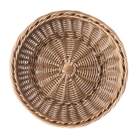 Empty fruit wicker brown basket bowl isolated over the white background, top view above foreshortening