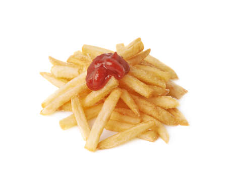 frites: Pile of cooked golden yellow french fries potatoes covered with ketchup souce, composition isolated over the white background Stock Photo