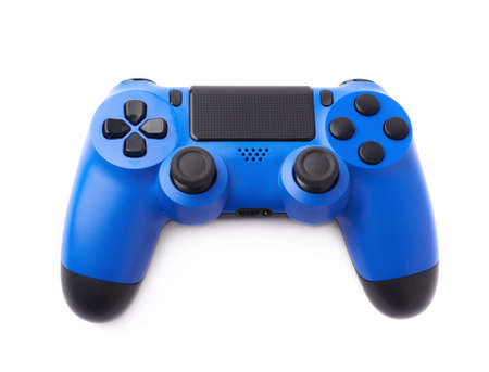 the gamepad: Gaming console blue plastic analog controller gamepad device isolated over the white background