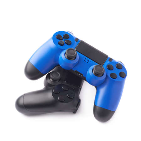 the gamepad: Composition of two gaming console controller gamepad devices, black and blue, isolated over the white background