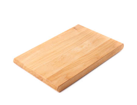 Unused brand new pine wooden cutting board isolated over the white background Standard-Bild