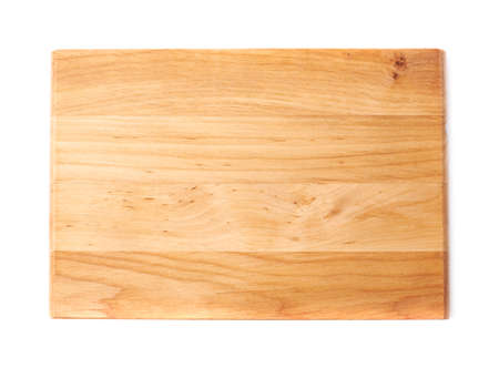 empty board: Unused brand new pine wooden cutting board isolated over the white background, top view above foreshortening Stock Photo