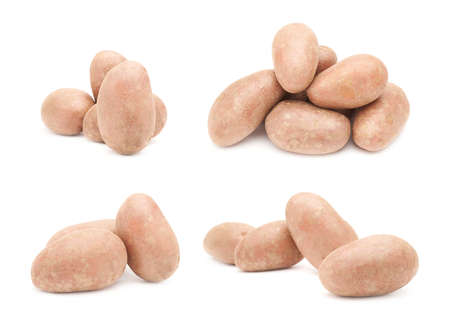 compositions: Set of multiple brown atlantic potatoes compositions isolated over the white background
