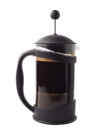 French press pot coffee maker filled with the fresh brew coffee, composition isolated over the white background Standard-Bild
