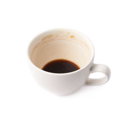 multiple stains: Used empty cup of coffee covered with multiple stains, isolated over the white background Stock Photo