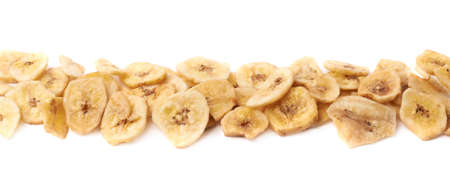 banana slice: Line made of dried banana slice snacks, composition isolated over the white background
