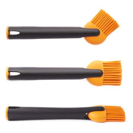 silicone: Silicone oil spreading brush for cooking isolated over the white background Stock Photo