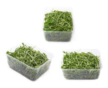 herbs boxes: Eruca sativa rucola arugula fresh green rocket salad leaves in a plastic package box, isolated over the white background