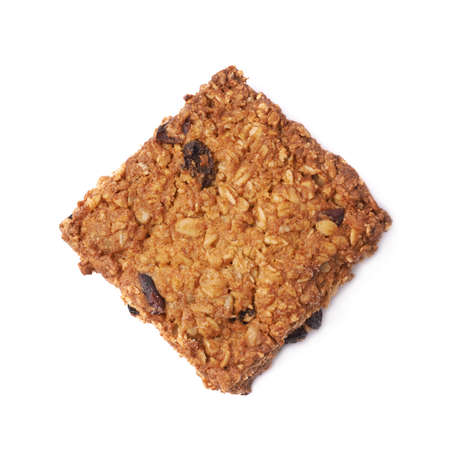 oatmeal cookie: Oatmeal cookie with raisins isolated over the white background Stock Photo