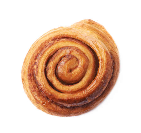 Sweet cinnamon bun roll swirl isolated over the white background
