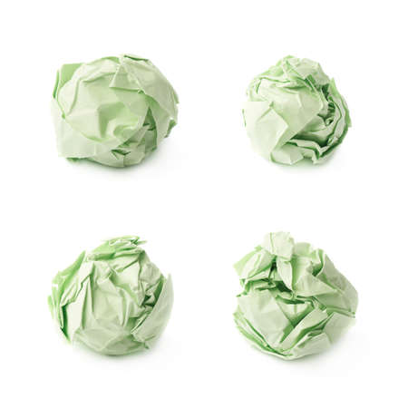 crumple: Crumple green paper balls isolated over the white background