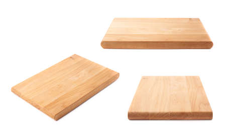 Unused brand new pine wooden cutting board isolated over the white background, set of three different foreshortenings