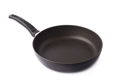 Black metal frying pan with a handle, isolated over the white background