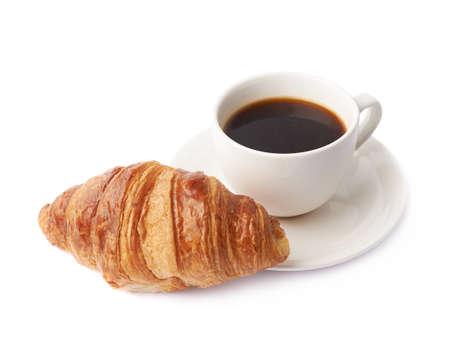 Croissant e tazza di caffè composizione isolate su sfondo bianco Archivio Fotografico - 41011312