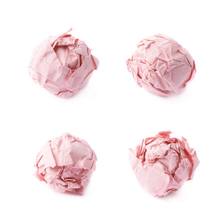 crumple: Crumple red paper ball isolated over the white background, set of four foreshortenings