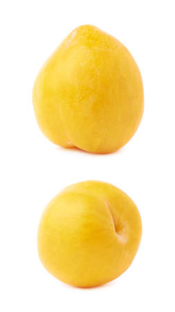 Single yellow mirabelle plum isolated over the white background photo