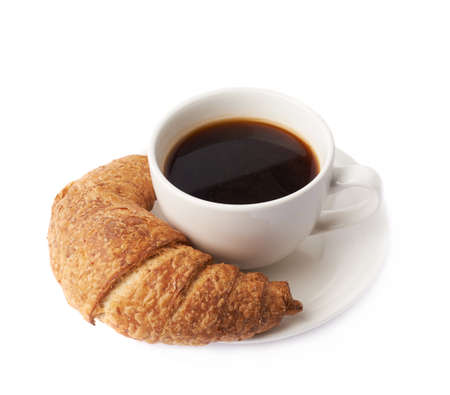 Croissant and cup of coffee composition isolated over the white background