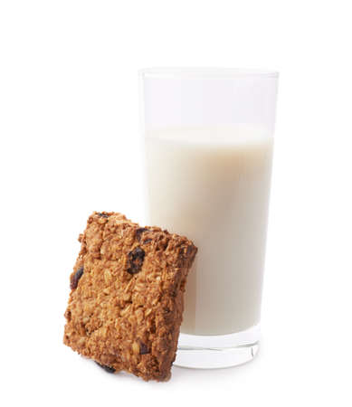 oatmeal cookie: Glass of milk and quare oatmeal cookie composition isolated over the white background Stock Photo