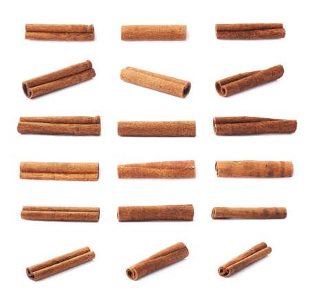 cinnamon stick: Set of multiple single cinnamon sticks isolated over the white background Stock Photo