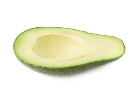 avacado: Half of ripe avacado fruit without the pit, composition isolated over the white background
